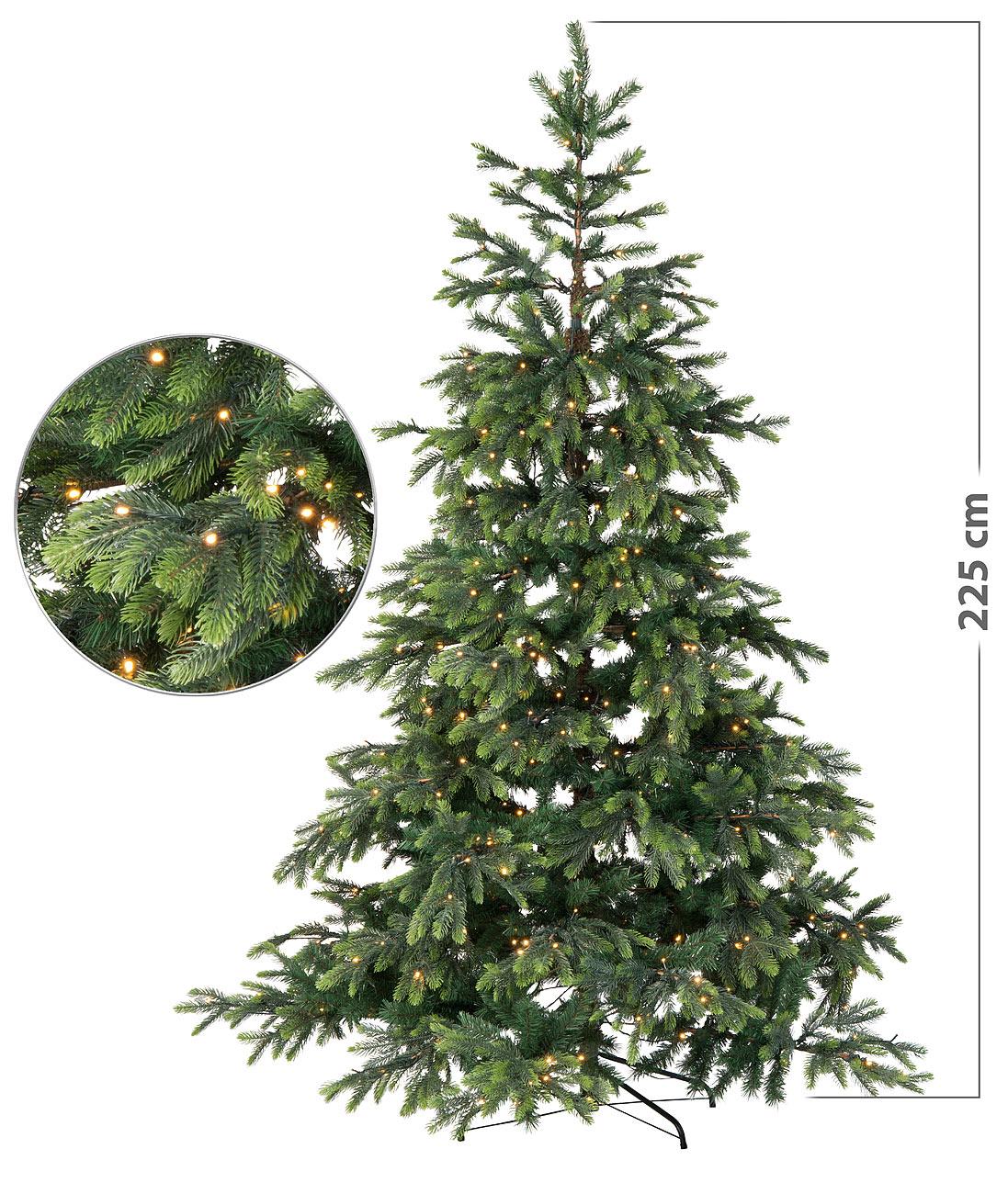 Albero Di Natale 70 Cm.Albero Di Natale Artificiale Con 500 Led E 70 Rami 225 Cm Colore Verde